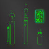 Vape shop set neon vector Royalty Free Stock Photos