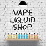 Vape shop wood shelf stock illustration