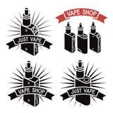 Vape shoppar logo Symbolse-cigarett stock illustrationer
