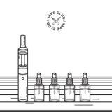 Vape smoking device. Illustration with e-cigarette and vaping juice. Vape smoking device. Illustration with e-cigarette and vaping juice Stock Images