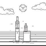 Vape smoking device set. Illustration with e-cigarette and battery. Vape smoking device set. Illustration with e-cigarette and battery Stock Images