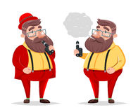 Vape Smoking Geek Hipster Casual Character Icon Cartoon Poster Vector illustration Stock Images