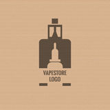 Vape store logo template design on the cardboard texture background. E-cigarette and e-liquid bottle stamp or T-shirt Stock Photo