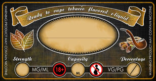 Vape tobacco flavored e-cigarettes e-liquid juice bottle vial label template Stock Photography
