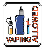 Vape vector banner with text vaping allowed Royalty Free Stock Images