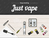 Vape vector illustration of vaporizer and accessories Royalty Free Stock Photography