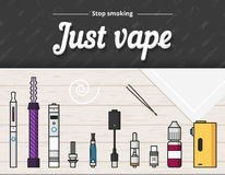 Vape vector illustration of vaporizer and accessories, vaping, flat Stock Image