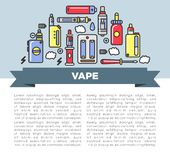 Vape zone Internet shop promotional poster with modern devices for smoking Royalty Free Stock Photo