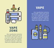 Vape zone vertical poster with modern devices for smoking Stock Images