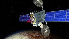 Vapen för science fictionutrymmelaser i omlopp av Pluto stock illustrationer