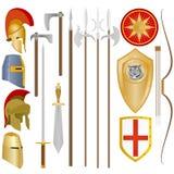 Vapen och armor av forntida soldater Arkivfoton