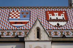 Vapensköld av kungariket av Kroatien, Slavonien och Dalmatia och staden av Zagreb Royaltyfri Fotografi