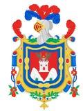 Vapensköld av staden av Quito royaltyfri illustrationer