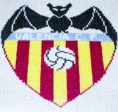 Vapensköld av Valencia C F traditionellt handcrafted som sys av handen arkivfoton