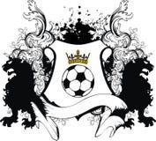 Vapensköld för futbol för fotboll för Floriture heraldisk svart lejontatuering Royaltyfria Foton