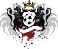 Vapensköld för futbol för fotboll för tatuering för lejon för vingkrona heraldisk svart Arkivfoton