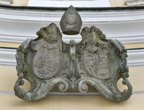Vapensköld i St Michael Basilica på Mondsee, Österrike Arkivbild