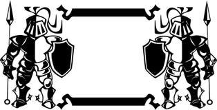 Vapensköld med riddarna vektor illustrationer