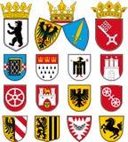 Vapensköldar av städer i Tyskland vektor illustrationer