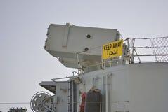 Vapensystem på det militära skeppet royaltyfri fotografi