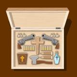 Vapenvampyrjägare Hjälpmedel mot undead i träask Garl stock illustrationer
