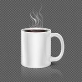 Vapeur blanche au-dessus d'illustration de vecteur de tasse de café ou de thé Photos libres de droits