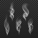 Vapeur blanche chaude de fumée transparente abstraite d'isolement sur le fond à carreaux illustration libre de droits