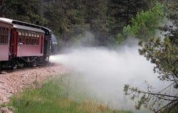 Vapeur de épanchement rouge de train de vapeur Photos stock