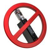 ??VAPING?? 与箱子Mod e香烟,3D的禁止的标志翻译 向量例证