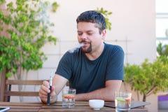 Vaping Adult Man, Smoking Electronic Cigarette Stock Image