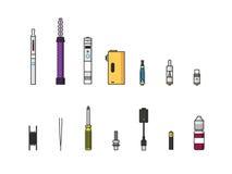 Vaping coloriu o grupo do ícone Imagens de Stock