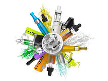 Vaping ecig battery mod collage isolated Stock Image
