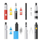 Vaping flat icons. Vaporizer cigarette electronic smoke signs Stock Images