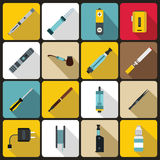 Vaping icons set, flat style Royalty Free Stock Photography
