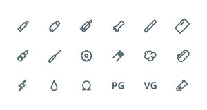 Vaping outlines icon set Royalty Free Stock Images