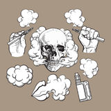 Vaping related elements, symbols - smoking skull and lips, vaporizer, e-cigarette. Vaping related elements, symbols - smoke, skull, vaporizer, e-cigarette, black Stock Image
