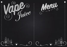 Vaping vape juice chalkboard style menu with illustrations of vape juice bottles Stock Images