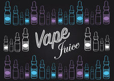 Vaping vape juice chalkboard style sign with illustrations of vape juice bottles. Chalkboard style sign for advertising and selling various Vape juice Stock Image