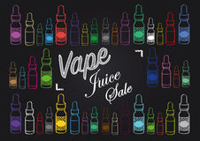 Vaping vape juice sale sign with illustration of vapour bottles. Vape juice vaping sign for selling or advertising vape juice Stock Photography
