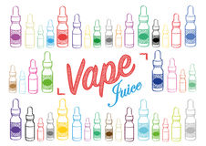 Vaping vape juice sign with illustration of vapour bottles. Vape juice vaping sign for selling or advertising vape juice Royalty Free Stock Image