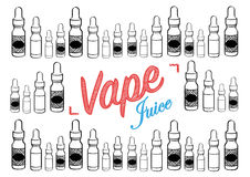 Vaping vape juice sign with illustration of vapour bottles. Vape juice vaping sign for selling or advertising vape juice Royalty Free Stock Images