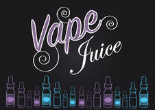 Vaping vape juice sign with illustration of vapour bottles. Vape juice vaping sign for selling or advertising vape juice Stock Photography