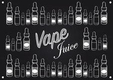 Vaping vape juice sign with illustration of vapour bottles. Vape juice vaping sign for selling or advertising vape juice Stock Photos