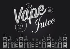 Vaping vape juice sign with illustration of vapour bottles Royalty Free Stock Images