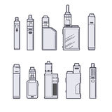 Vaping vector set. Vape devices outline on white background. Stock Photography