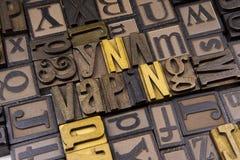 Vaping in wooden typeset Stock Photos