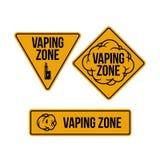 Vaping zone signs set. Vector illustration. stock illustration