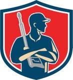Vapnet för tvagningen för tryck för maktpackningen krönar det armar korsade Retro royaltyfri illustrationer