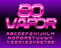Free Vapor 80 Alphabet Font. Glowing 3D Retro Letters And Numbers. Royalty Free Stock Images - 181505449