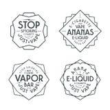 Vapor bar and vape shop labels Stock Image